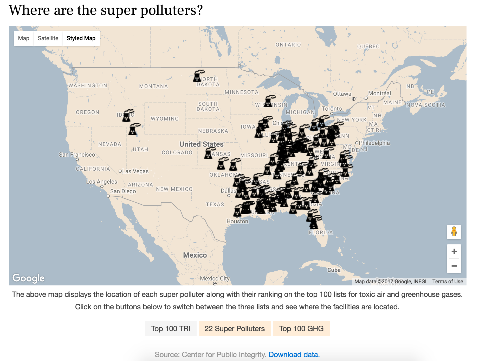 Custom Map For Investigative Feature On Us Power Plants Interactive Version And Story Here
