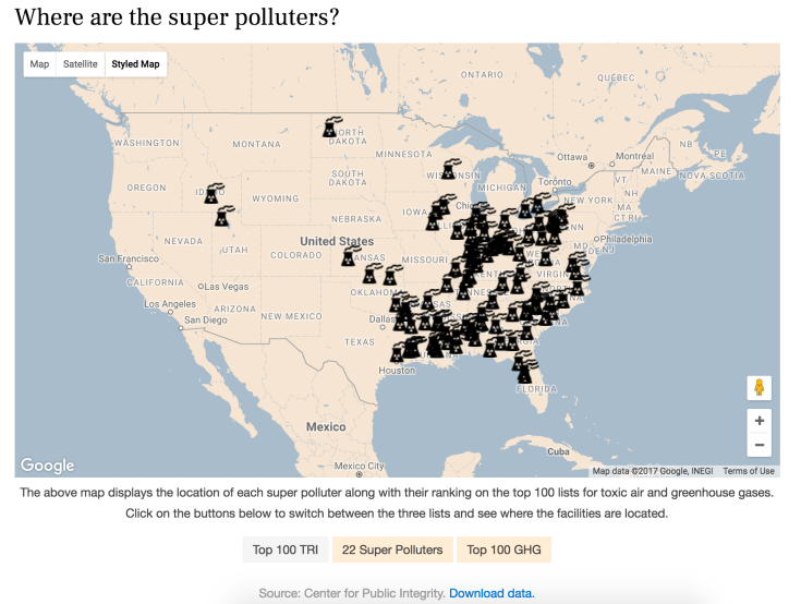 Custom map for investigative feature on US power plants. Interactive version and story here: http://igor.gold.ac.uk/~bcool001/portfolio/super-polluters/index.html
